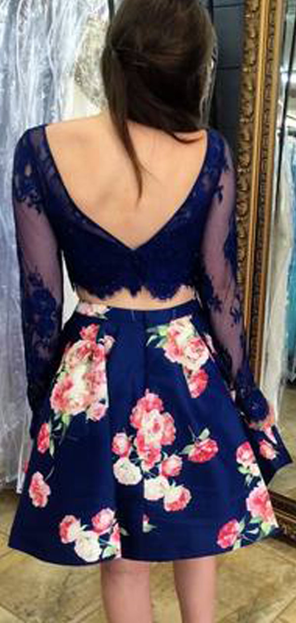 Two Piece Navy Lace Floral Satin Long Sleeve V-back Homecoming Dresses ,BD0193