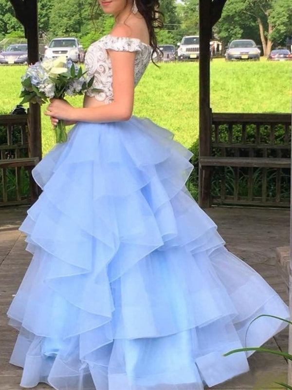 Two Piece Off Shoulder BLue Organza Ivory Lace Prom Dresses, DB1119