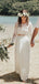 Two Piece See Through Lace Top Long Sleeve Ivory Chiffon Wedding Dresses ,DB0177