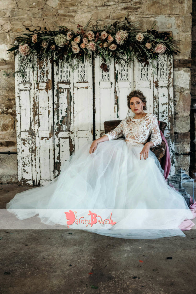 Two Piece See Through Lace Top Puffy Tulle Wedding Dresses With Long Sleeves, DB0138