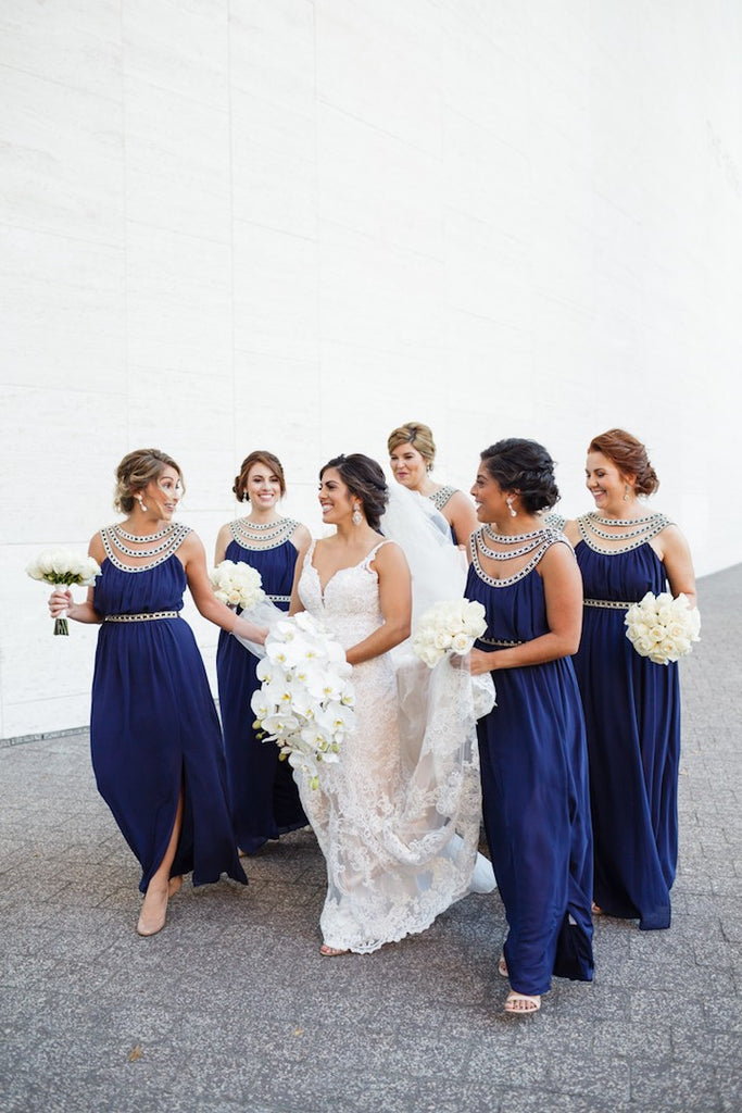 Unique Dark Royal Blue Split Sleeveless Long Bridesmaid Dresses,DB103