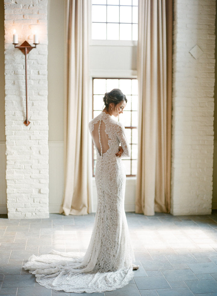 Vintage Fully Lace See Through Open Back Long Sleeves Elegant Wedding Dresses,DB0153