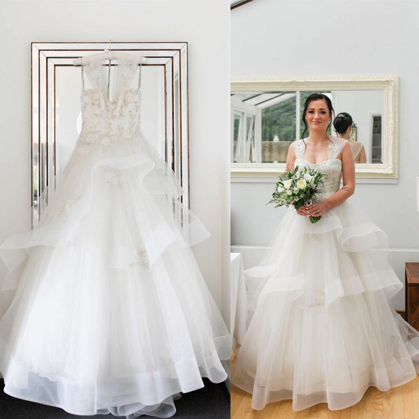 Vintage Ivory Ruffles Organza Applique Sleeveless Tiered Ball Gown Wedding Dresses, WD0098