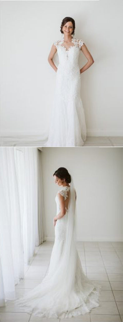 Vintage Lace Cap Sleeve See Through Back Wedding Dresses,DB0175