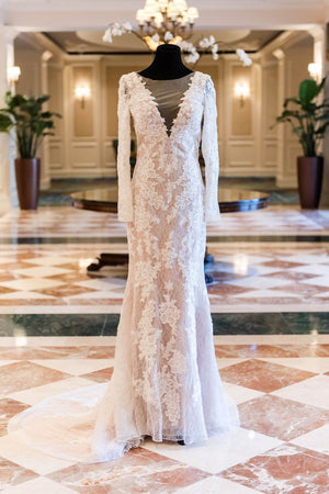 Vintage Lace Long Sleeve See Through Back Nude Mermaid Wedding Dresses, WD0173