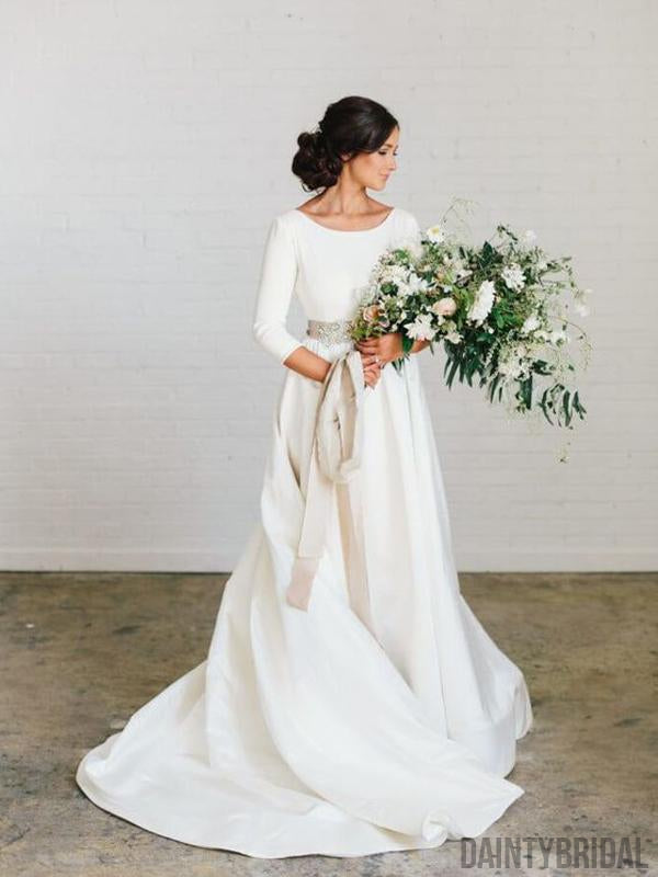 Charming Bateau 3/4 Sleeves A-Line With Train Long Wedding Dresses.DB10054