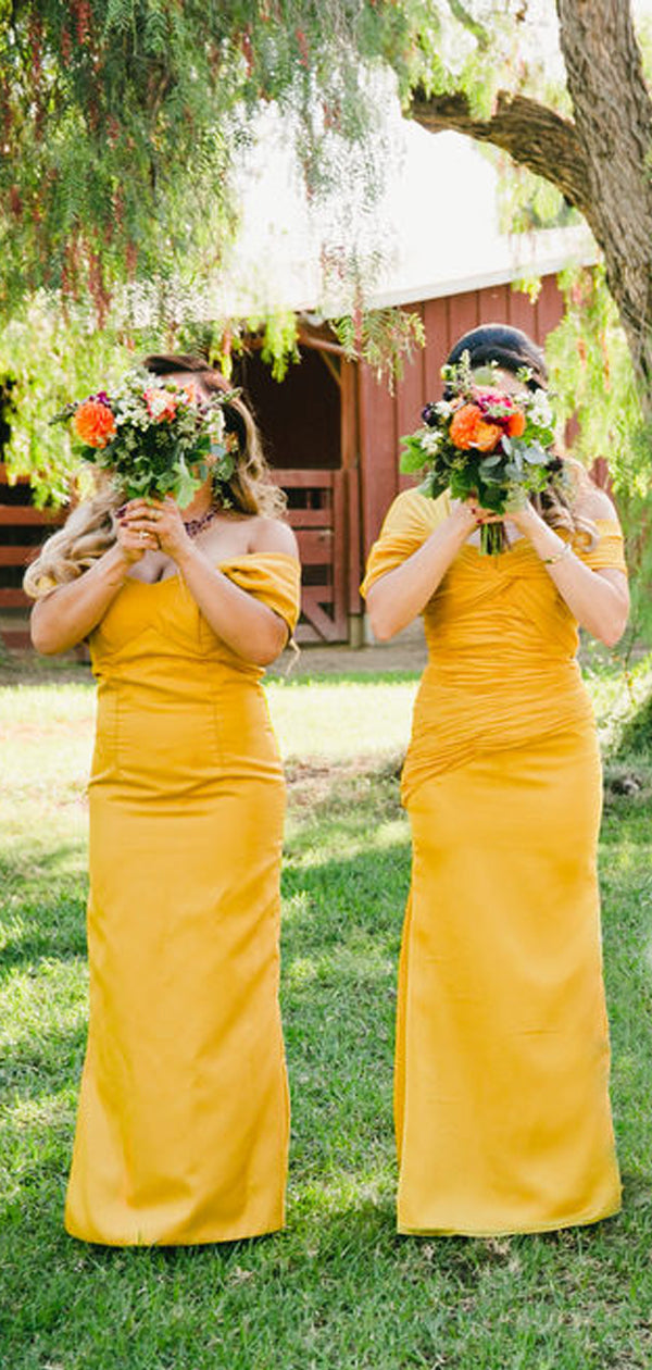 Yellow Pleating Off Shoulder Sheath Long Bridesmaid Dresses,DB120