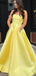 Yellow Satin Beaded Pockets Strapless Ball Gown Sweet-16 Prom Dresses, DB1123