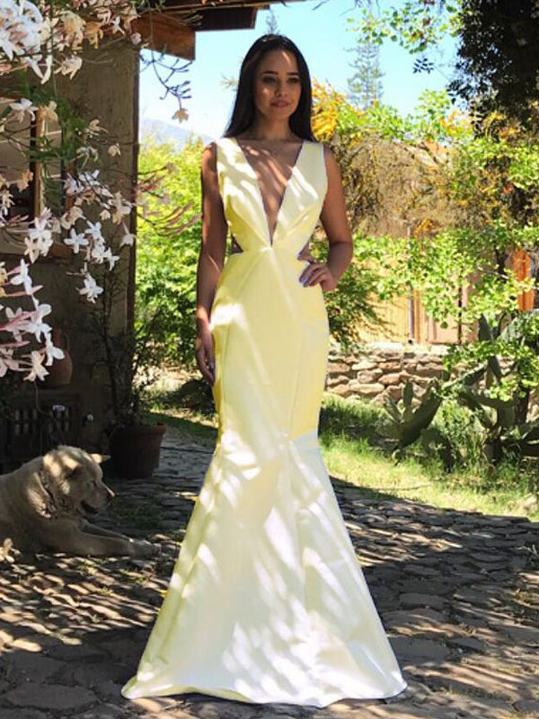 Yellow Satin V-neck V-back Mermaid Sleeveless Prom Dresses, DB1112