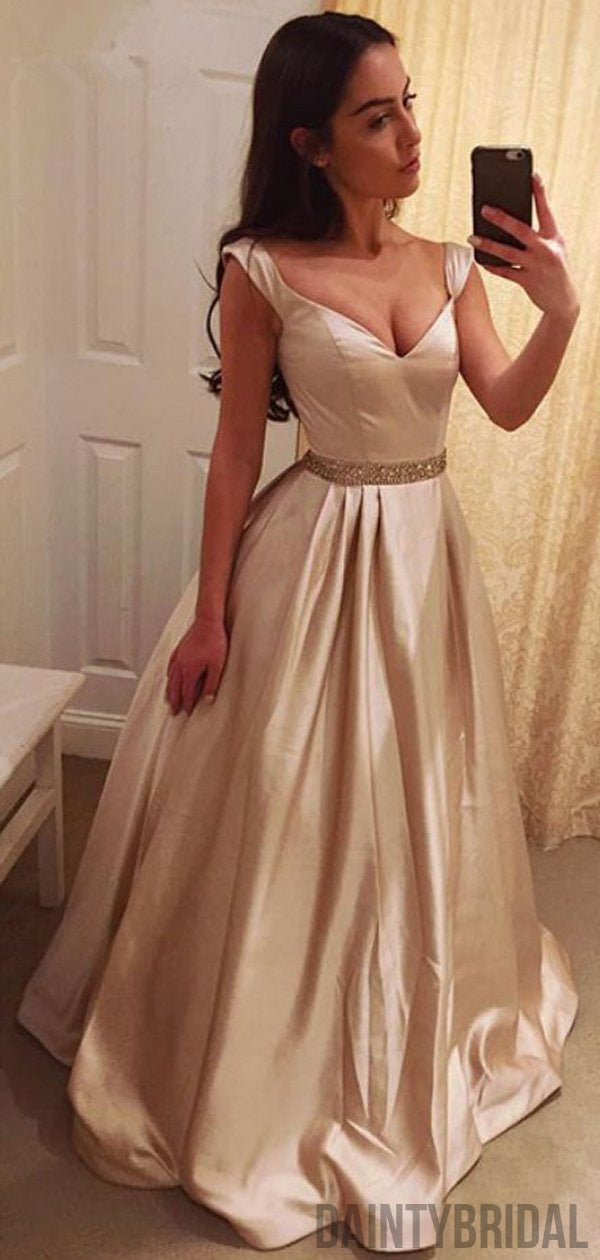 V-neck A-line Satin Floor Length Cheap Long Prom Dresses,Evening Dresses.DB10101