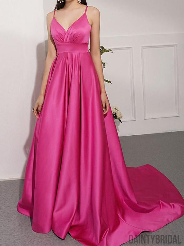 Elegant Spaghetti Strap A-line Sweep Train Long Prom Dresses.DB10113