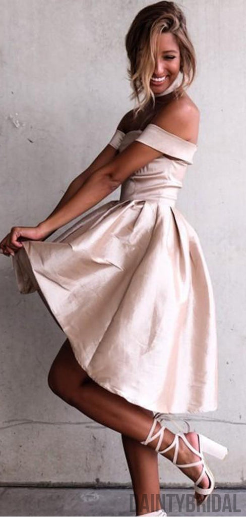 Charming Off-shoulder Satin Short Dresses,Homecoming Dresses.DB10116