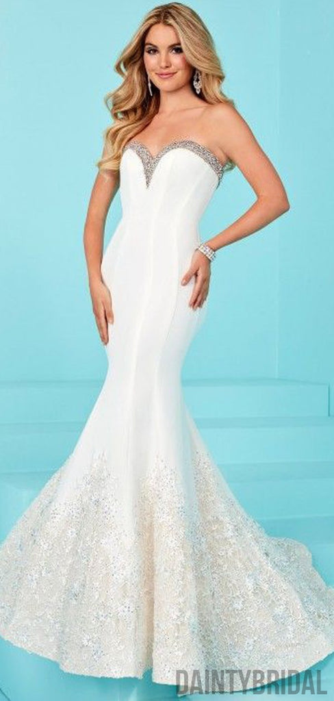 Sweetheart Neck Mermaid Satin With Lace Long Prom Dresses.DB10102
