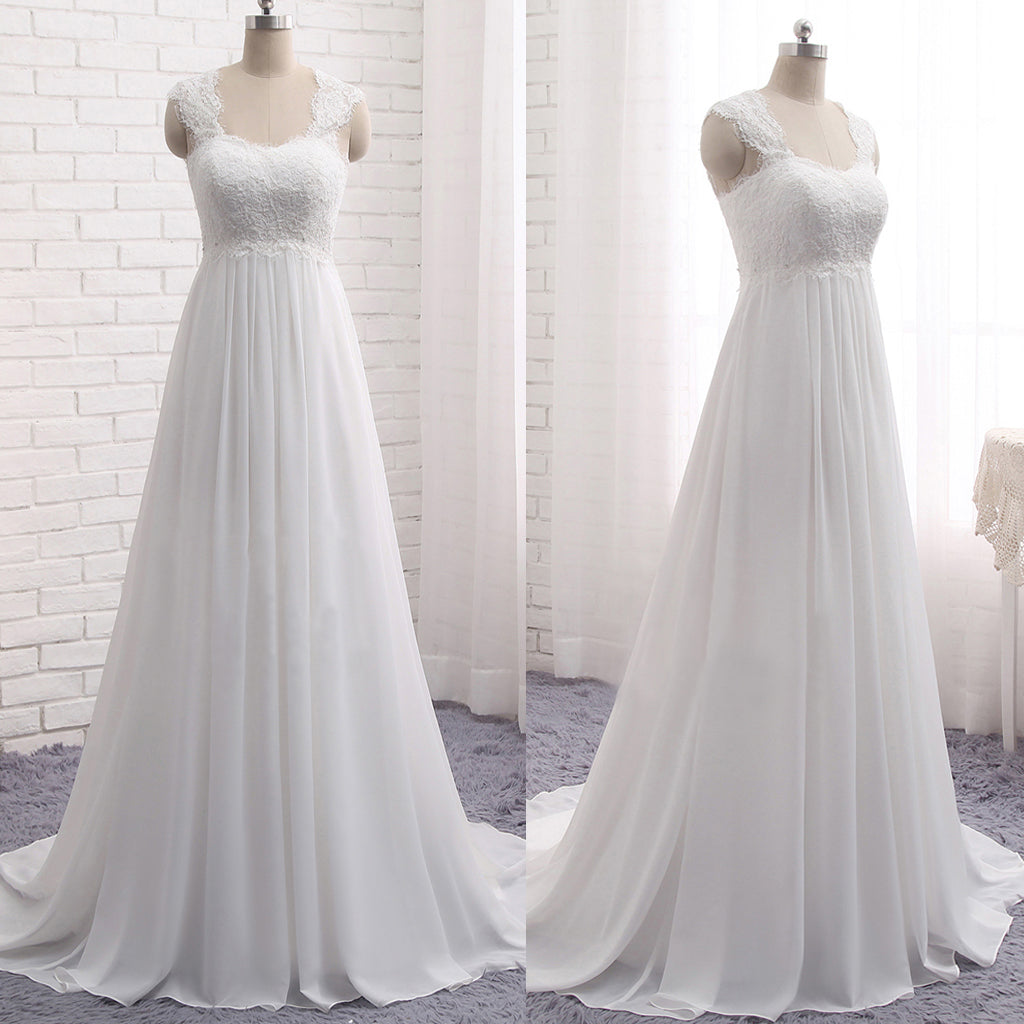 Cheap simple lace top chiffon long a line sleeveless empire waist cheap simple lace top chiffon long a line sleeveless empire waist lace up back wedding ombrellifo Gallery
