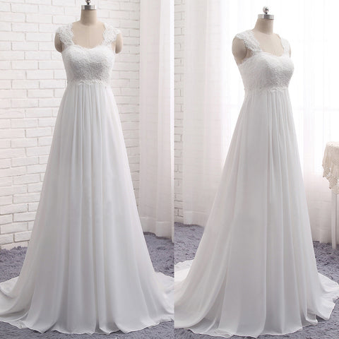 Cheap Simple Lace Top Chiffon Long A-line Sleeveless Empire Waist Lace Up Back Wedding Dress Bridesmaid Dress,DB087