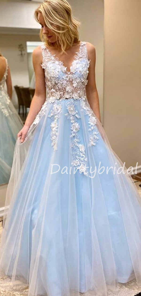 Charming V-neck A-line Tulle Lace Long Prom Dresses Evening Dresses.DB10610