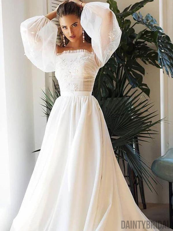 Straight Neck Satin With Lace A-line Long Wedding Dresses.DB10103