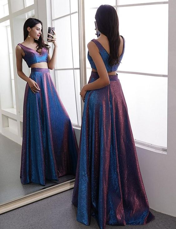 Two pieces taffeta sexy v-neck floor length prom dress ,BD090