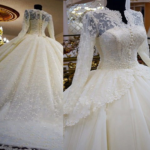 Vintage Unique Gorgeous Ball Gown Full Ivory Lace Beading Long Sleeve Elegant Lace Up Back Wedding Dress,DB088