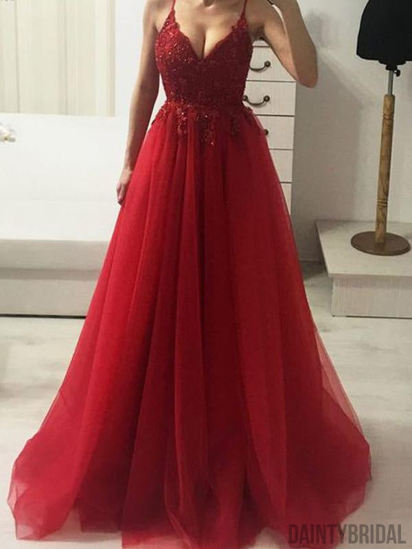 Sexy V-neck Tulle Floor Length Long Prom Dresses.DB10104