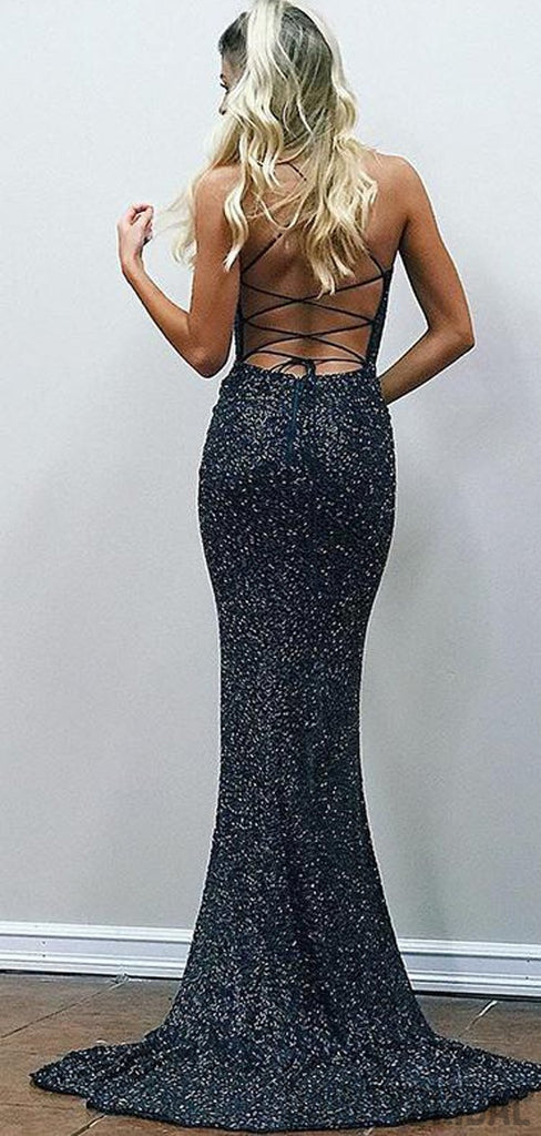 Sexy Elastic Sequin Side Slit Straight Neck Mermaid Open Back Long Prom Dresses.DB10107