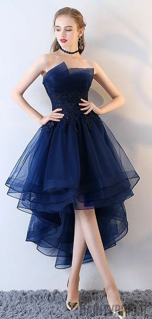 High Low Tulle Modest Short Prom Dress,Sexy Cocktail Homecoming Dress,Charming Party Dresses.BD10108