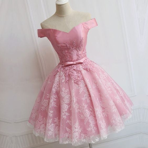 Lovely Pink  A-line Off-shoulder Sweetheart Lace Appliques Bow Sash Knee Length Homecoming Dress,BD0109