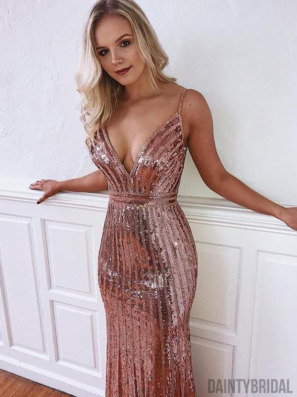 Mermaid V-neck Sequin Open Back Sexy Prom Dresses.DB10109