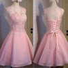 Lovely Pink Appliques Beads Sequins Sleeveless Clairvoyant Outfit Lace Up Back Organza Homecoming Prom Dress,BD0132