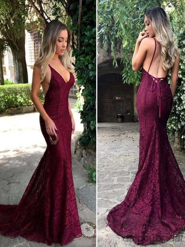 Sexy Deep V-Neck Backless Spaghtti Straps Lace Mermaid Long Evening Prom Dress.DB10012