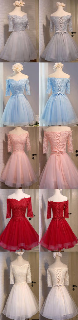 Junior Vintage Off Shoulder Three-quarter Illusion Sleeve Lace Appliques Lace Up Back Organza Homecoming Prom Dress,BD0117