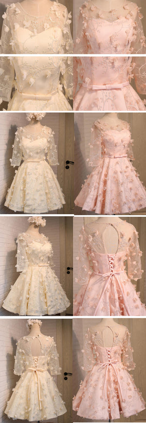 Long Illusion Sleeve  Clairvoyant Outfit Lace Up Back For Teen Organza Full Appliques Homecoming Dress,BD0129