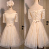 Junior Off Shoulder Half Sleeve Sweetheart Lace Up Back Organza Full Lace Knee Length Homecoming Prom Dress,BD0139