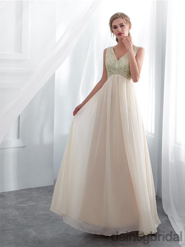Affordable v-ncek A-line sleeveless chiffon floor length weeding dress. DB093