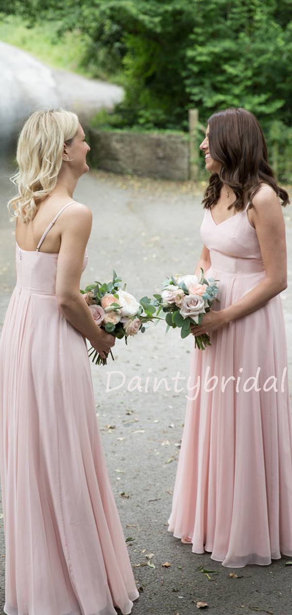 New Arrival V-neck Chiffon Floor-length Long Bridesmaid Dresses.DB10586