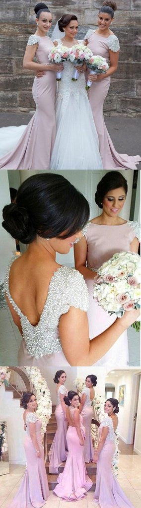 Beading Cap Sleeve Open Back Sexy Mermaid Ruffles Chapel Trailing Long Bridesmaid Dresses,CB0002