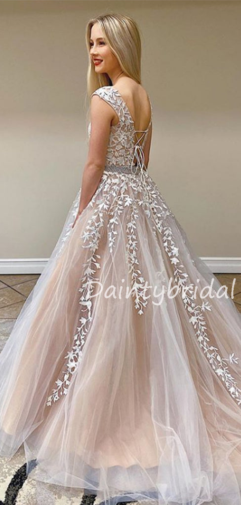 Charming Scoop Neck A-line Tulle Long Prom Dresses Evening Dresses.DB10608