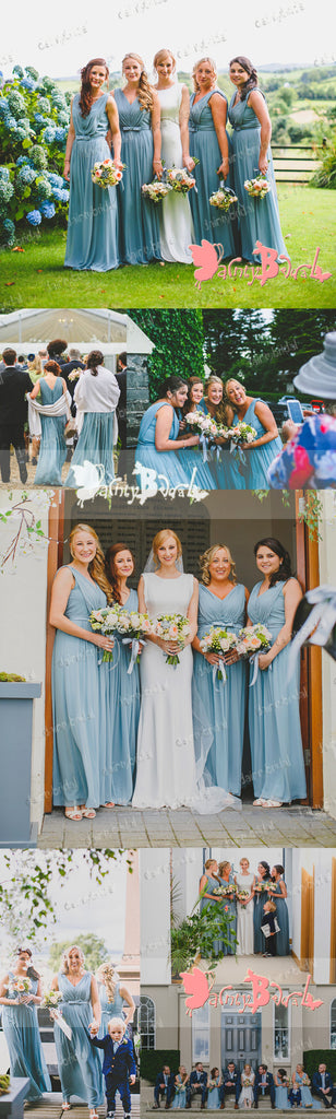 Newest Fashion Blue Chiffon Unique Pleating V-neck Sleeveless Long A-line  Bridesmaid Dresses,DB091