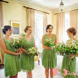 62777875ea Lemon Green Chiffon Pleating V Neck Back Sleeveless Pretty Short Country  Bridesmaid Dresses