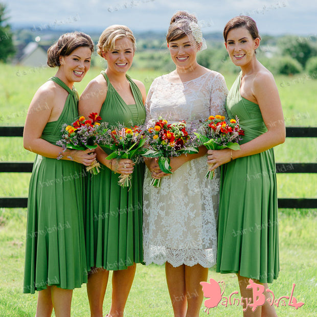 Cheap Charming Popular Bud Green Jersey Convertible Knee-Length Short  Bridesmaid Dresses,DB093