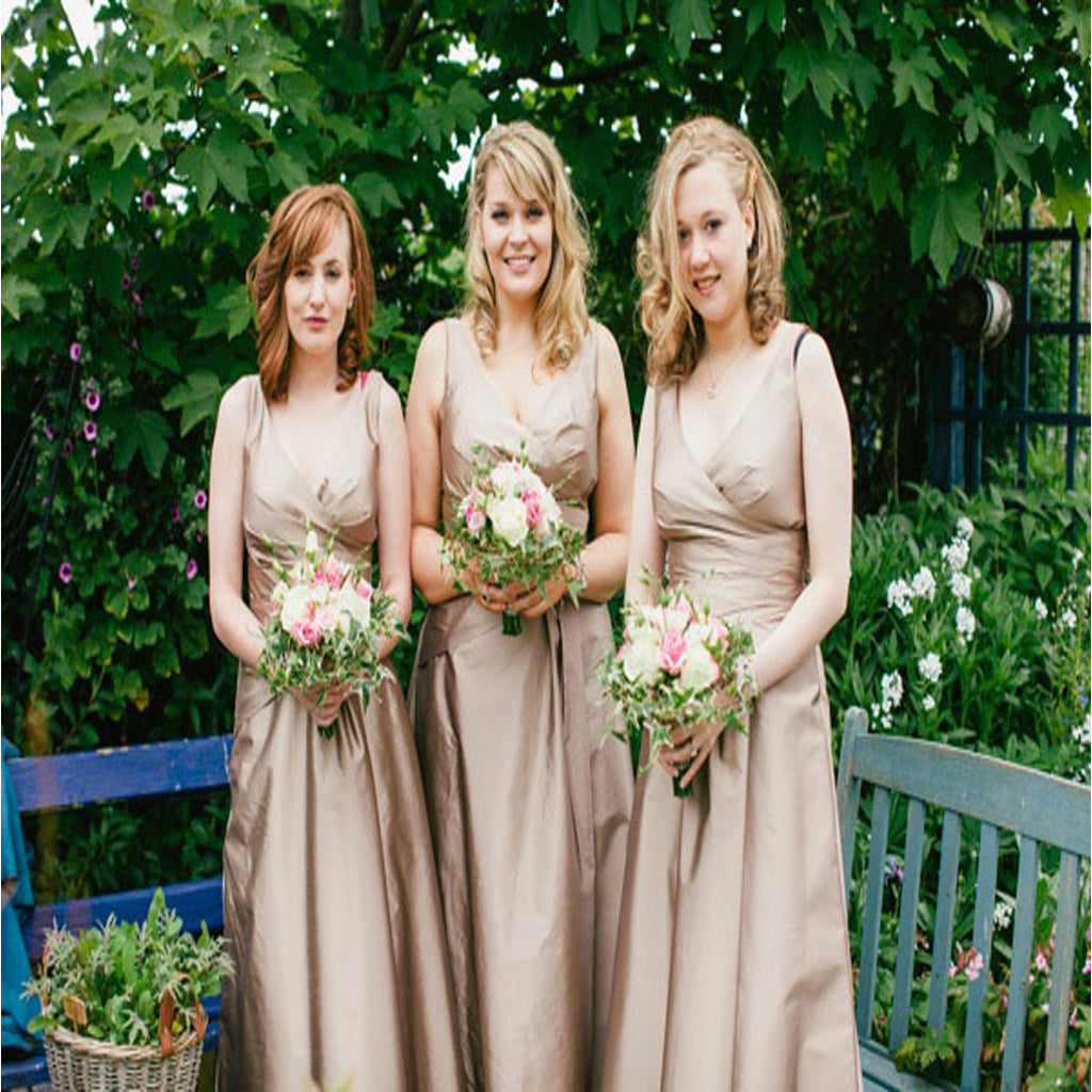 Simple Cheap Vintage Sleeveless V-neck Ball Gown Wedding Party Long A-line  Bridesmaid Dresses,DB090