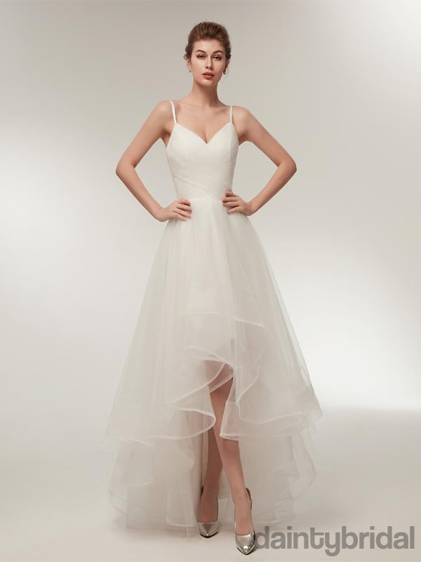 Popular white v-neck spaghetti strap lace up back organza pretty weeding dress .DB0097
