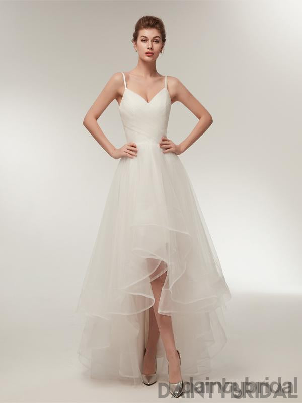 Copy of Copy of Popular white v-neck spaghetti strap lace up back tulle pretty wedding dress .DB0097