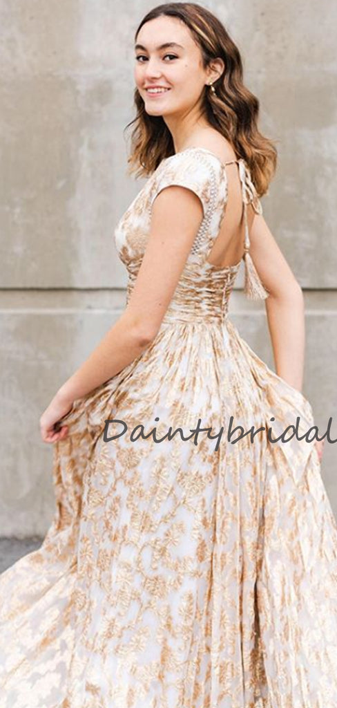 Affordable Bateau Cap Sleeve Tulle Lace A-line Long Prom Dresses Evening Dresses.DB10675