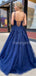 Charming Spaghetti Strap A-line Tulle Lace Long Prom Dresses Evening Dresses.DB10609