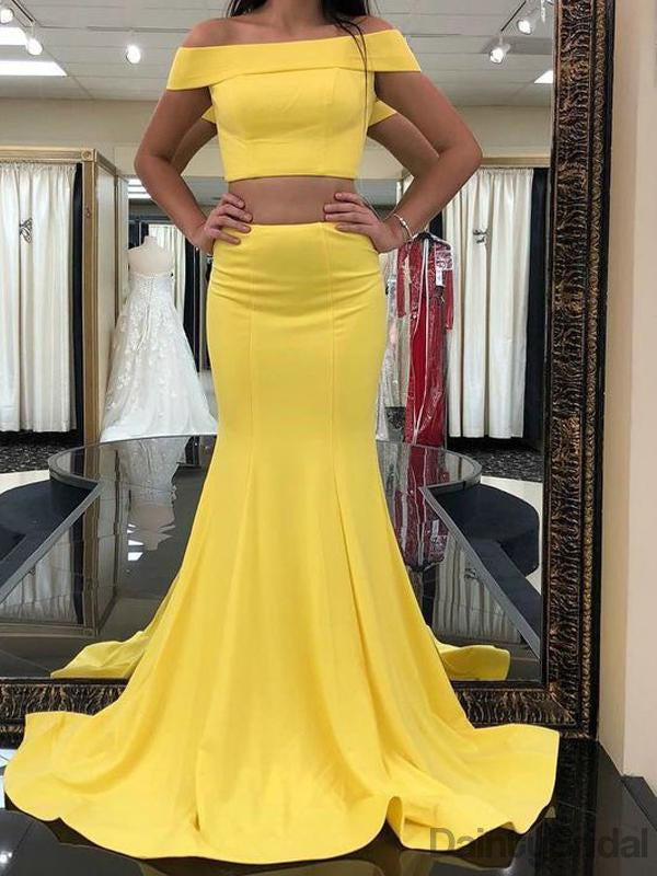 Two Piece Off Shoulder Yellow Mermaid Satin Long Prom DressDB10078