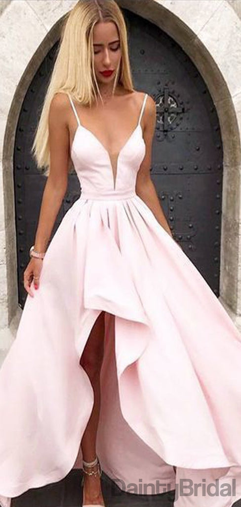 Sexy V-Neck High-Low Satin Long Prom Dresses.DB10079