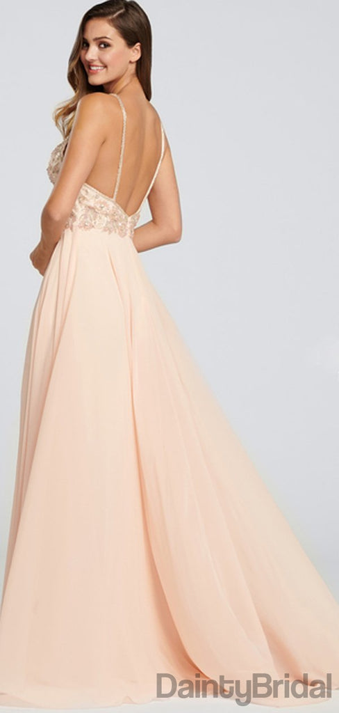Charming Chiffon V-Neck Side Slit Long Prom Dresses.DB010084