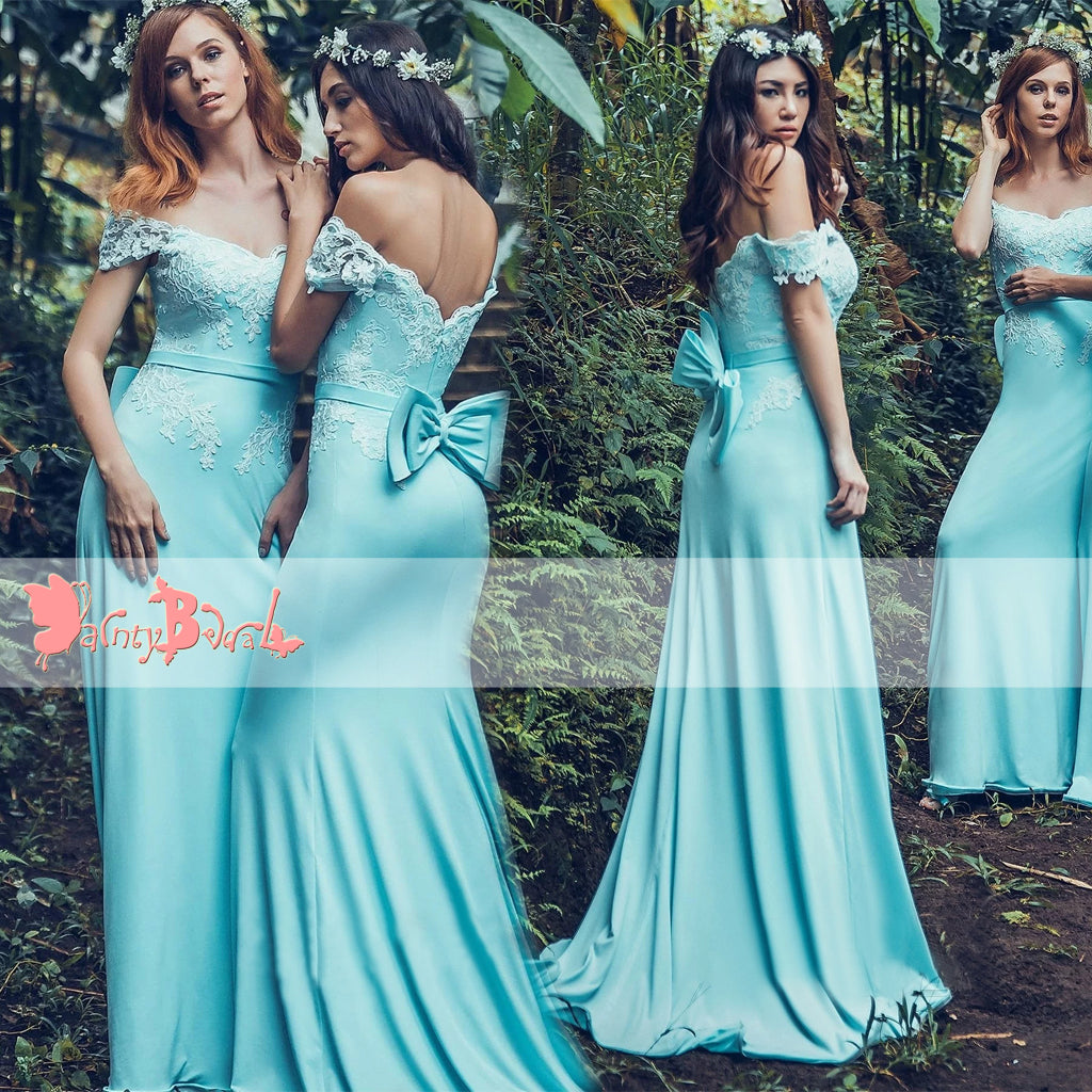 Off Shoulder Charming Blue With Bowknot Sash Lace Appliques Mermaid Bridesmaid Dresses,DB099