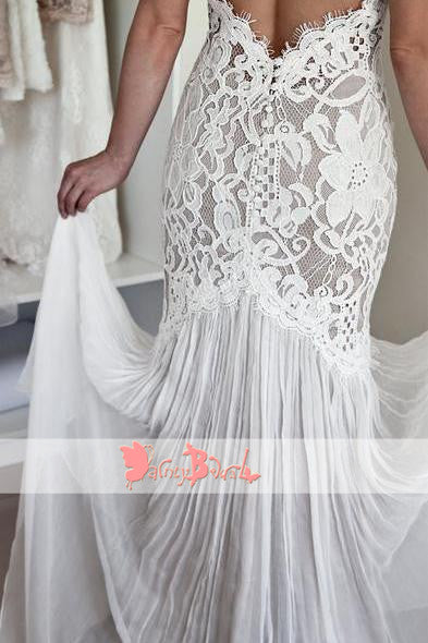 Vintage Gorgeous Lace Sleeveless Halter  Keyhole Back Mermaid Charming Wedding Dresses,DB0118